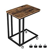 VASAGLE End Table, Industrial Side Table, Easy to Assemble, Coffee Table, for Coffee Laptop, with Metal Frame and Rolling Castors, for Living room, Bedroom, Balcony, Rustic Brown LNT50X