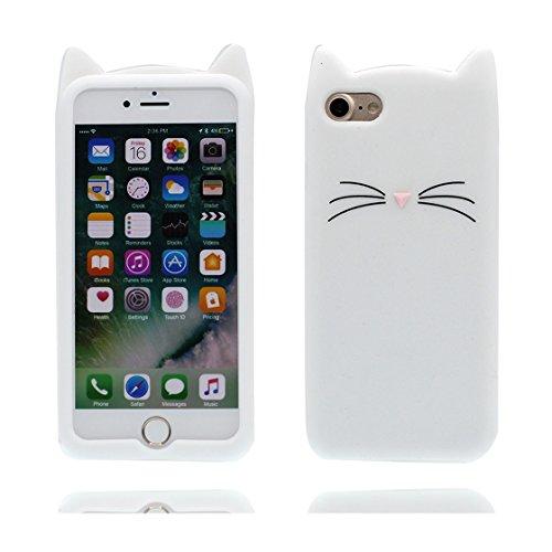 iPhone 6s Custodia, TPU Cartoon Case Cover Shell Animale Progettato per iPhone 6S / 6 Copertura (4.7 pollici) ( Cratoon 3D bianca gatto ), prova antipolvere della prova di polvere ( Cat ) bianca 2