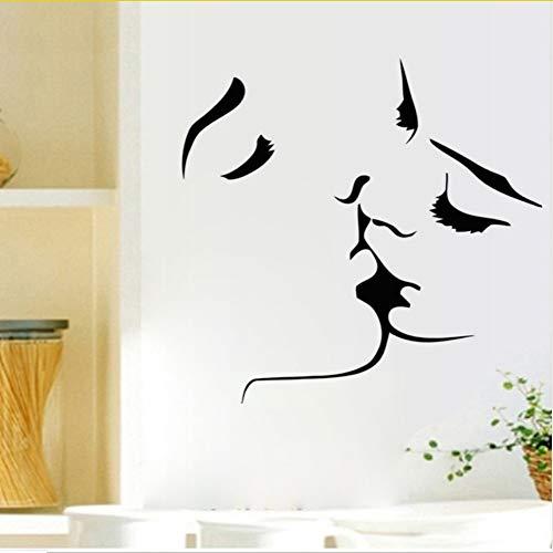Mrhxly Liebhaber Küsse Silhouette Wandaufkleber Schwarz Kissing Gesicht Skizze Wand PosterDekoration Zubehör Aufkleber 59 * 56 Cm