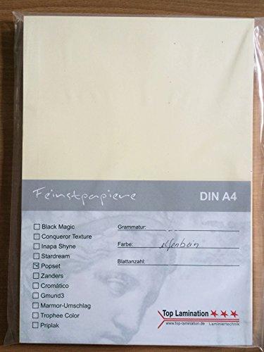 100 Blatt DIN A4 Papier elfenbein 120g/m² komplett durchgefärbt, für Einladungen, Hochzeitskarten, Fotoalbum, Bastelarbeiten (Fotoalbum Elfenbein)