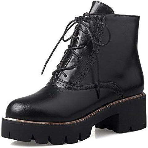 AgooLar Donna Punta Tonda Vernice Tacco Medio Puro Stivali con Nodo