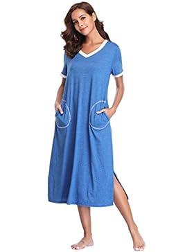 [Sponsorizzato]Lusofie Camicie da Notte Donna Cotone Maniche Corte Pigiama Donna