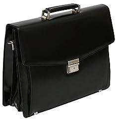 Idea Regalo - Tassia - valigetta 24 ore con tasca estraibile - rigenerato di pelle - nero