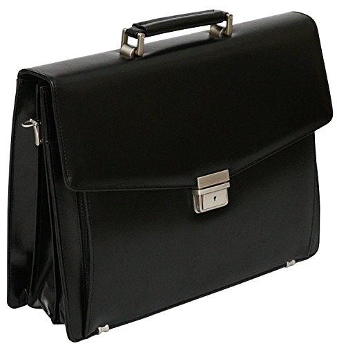 Tassia - Aktentasche mit herausnehmbarer Laptophülle - für die Arbeit - aus Lederfaserstoff - Schwarz
