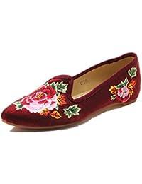 Tianrui Crown Mocasines de Lona Para Mujer