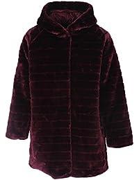 Gracious Girl New Ladies Italian Stripe-Cut Faux Fur Hooded Coat Women Winter Coatigan Coat Jacket Plus Sizes