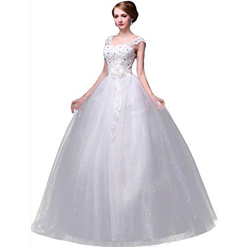 WeWind Damen Elegantes Brautkleid mit Träger Schmuck Orgaza Schlank rückenfreies Hochzeitskleid...