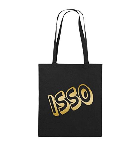 Comedy Bags - ISSO - COMIC SCHIEF - Jutebeutel - lange Henkel - 38x42cm - Farbe: Schwarz / Silber Schwarz / Gold