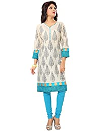 Women's Formal & Casual Pure Cotton Beige Printed Kurti By D&D