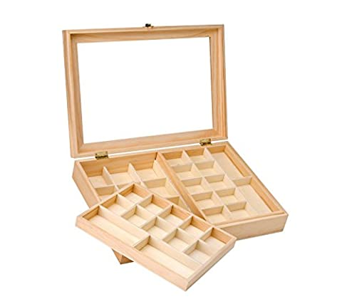 GLOREX 62003341Boîte à bijoux en bois de pin, FSC Mix, 40x 28x 7,5cm