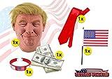 TK Gruppe Timo Klingler Donald Trump Set - Fasching Karneval Maske Poltiker, Perücke aus Latex, Krawatte rot, amerikanische USA Flagge, Dollar Scheine, Armband für Herren und Damen Kostüm