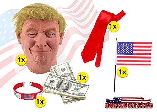 TK Gruppe Timo Klingler Donald Trump Set - Fasching Karneval Maske Poltiker, Perücke aus Latex, Krawatte rot, amerikanische USA Flagge, Dollar Scheine, Armband für Herren und Damen - Donald Trump Kostüm