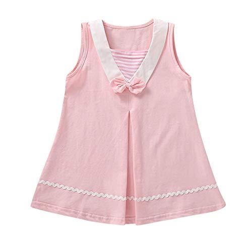 squarex  Mädchen Ärmelloser Rock Kleinkind Fliege Gestreiftes Kleid Kinder Casual Rock Baby Prinzessin Kleid Sommerkleid Komfortables Kleid (Fliege Für Kleinkinder Ostern)
