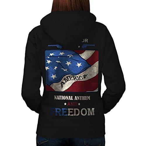 USA Patriot Freiheit Gewehr Women M Kapuzenpullover Zurück | (Kostüm Gürtel Gewehr)