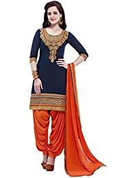 Regalia Ethnic Women's Cotton Dress Material (MFRE101_Free Size_Blue)