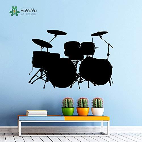 Wandtattoo Vinyl Wanddekoration Musik Drum Set Drum Rock Band Kunst Design Schlafzimmer Retro Poster 81 * 57 cm