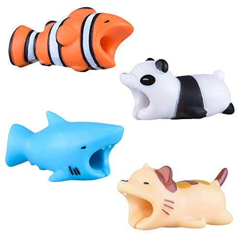 4 Pack Cable Bite Qoosea iPhone Cable Protector Shaver Cute Creative Animal Accesorio de teléfono Protege Accesorio de cable Compatible con cualquier iPhone iPhone Accesorio de cable Compatible con iPhone 5, 5S, SE, 6, 6S, 7, 8, X, Xs, Xr, Xs Max