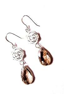 CageaNana-boucles d'oreilles argent et cristal champagne-Femme