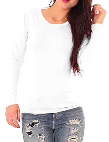 Damen Jersey Langarm Basic T-Shirt mit Rundhals lang Ausschnitt rund