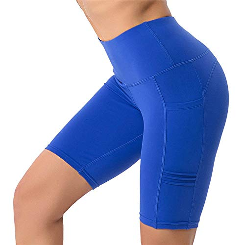 Damen Tights Shorts Sport Kurze Hosen, Damen Sommer High Waist Butt Lift Yoga Workout Gym Bike Running Activewear Kompressionsshorts Bauchregulierung Seitentaschen Laufshorts Fitness Yoga Leggings