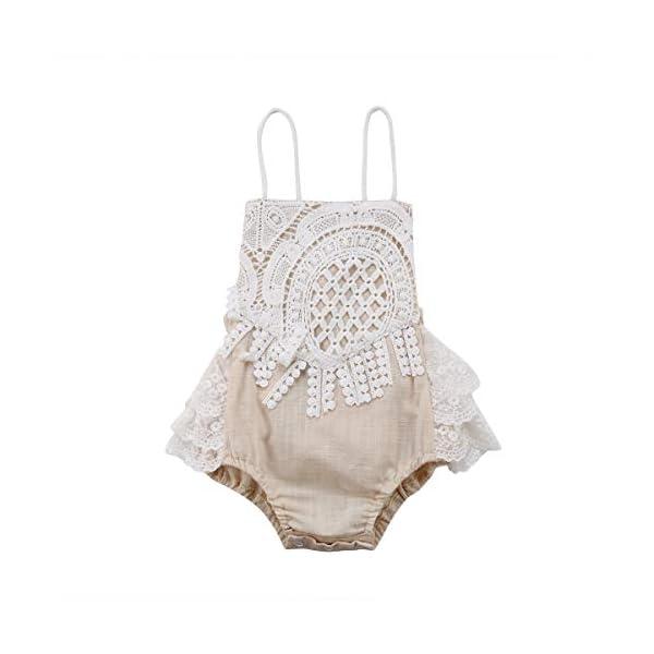 Carolilly Mono Bebé Niña Vestido Tirantes Verano sin Manga Recién Nacido Body de Algodón con Encaje (0 a 24 Meses) 1