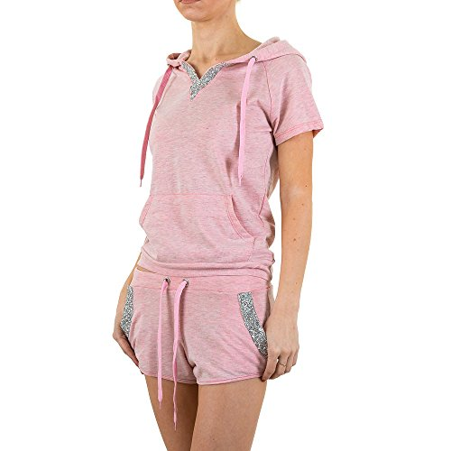 Freizeit Zweiteiler Kapuzen Strass Anzug Für Damen bei Ital-Design Pink