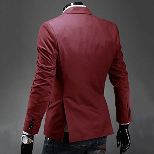 Uomo Slim Fit Elegante Vestito di Affari Una fibbia Cappotto Giacca Blazers Top Outwear Rosso