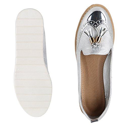 napoli-fashion Bequeme Damen Slippers Tassel Loafer Lack Metallic Schuhe Quasten Profilsohle Flats Blumen Glitzer Freizeitschuhe Jennika Silber