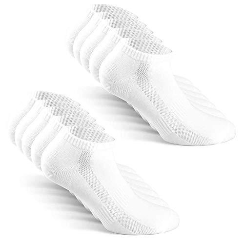 TUUHAW Sneaker Socken Herren Damen Sportsocken 10Paar Halbsocken Kurze Atmungsaktive Baumwolle Weiß 47-50