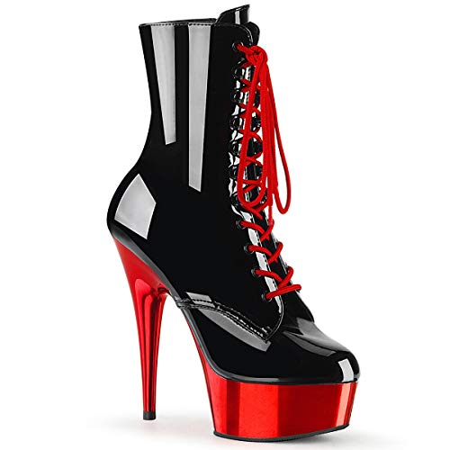 Pleaser DELIGHT-1020 Blk Pat/Red Chrome UK 6 (EU 39) (6 Zoll Heel-schuhe High)