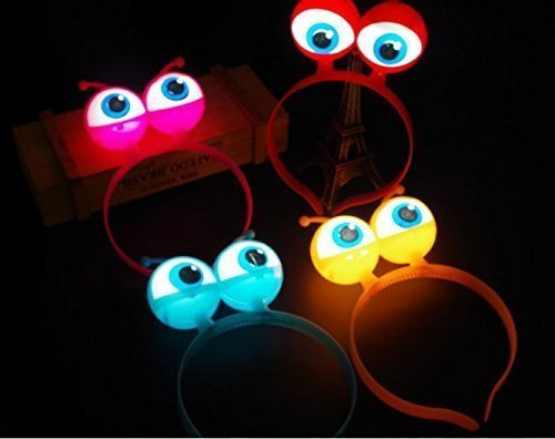 Alien Requisiten (URChic 5Pcs LED leuchten leuchtende Halloween Vocal Concert Requisiten Supplies Aliens Augen Kopf Haar Band Band Party Dekoration Erwachsene Kinder Haar Zubehör)