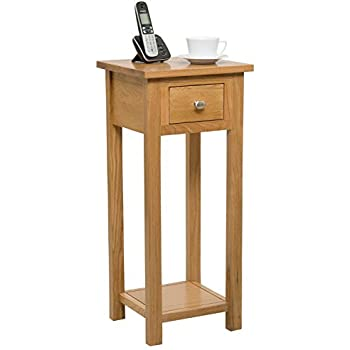 New Solid Oak Compact Tall Slim Small Telephone / Phone / Console / Lamp /  Hall Way / Plant / Bedside Table