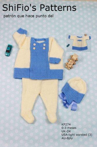 patrón para dos agujas - KP274 - chaqueta matinée, leggins y sombrero para bebé de