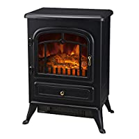 HOMCOM Freestanding Electric Fire Place Indoor Heater Glass View Log Wood Burning Effect Flame Portable Fireplace Stove 1850W MAX
