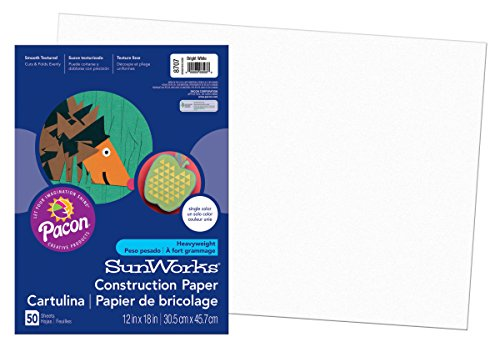 Construction Paper, 58 lbs., 12 x 18, Bright White, 50 Sheets/Pack