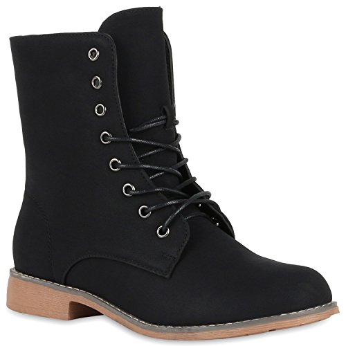 Gefütterte Damen Stiefeletten Stiefel Worker Boots Schuhe Schwarz Hellbraun