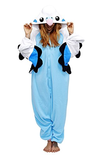 Fleece Pyjama Kigurumi - Wellensittich (blau)