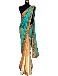 Kaavi Fab Women's Net Cream And Sky Multi Work Designer Saree