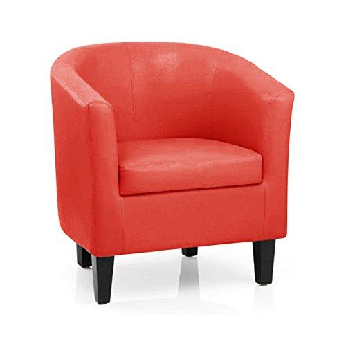 Dirty Pro toolstm Sessel, Kunstleder, mit Kissen Sessel für Wohnzimmer Esszimmer Büro Empfang Bonded Modern Rot - Faux-leder-empfang