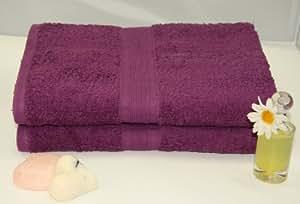 2 tlg.Duschtuchset in lila , 100% Baumwolle, 2x Duschtuch