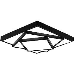 LED Deckenleuchte Moderne Eckig Design Leuchte Kreative Einfache LED Lampen 24W Decken Wohnzimmerlampe aus Metall & Acryl Schön Deckenlampe für Schlafzimmer Esszimmer Küche, kaltweiß 6000K , Schwarz