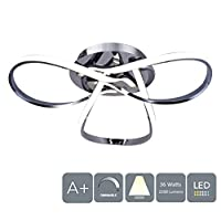 AUROLITE Contemporary LED Chrome Semi Flush Ceiling Light, 36W 2200LM, Dimmable, 4000K Cool White, Modern Swirl Design, Ideal for Lounge, Living Room and Bedroom, 36 W