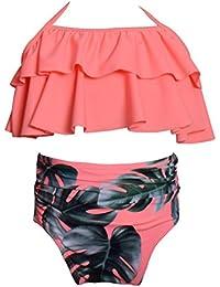 LemonGirl Baby Girls traje de baño de talle alto Floral Bikini estampado conjunto de trajes de