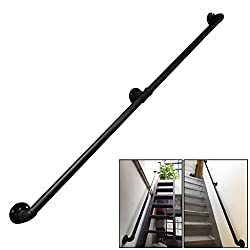 Vintage Handrail for Stairs External or Staircase Interiors Outdoor Indoor Use Handrails Banister Railing Rail Support Kit - Black Metal Wrought iron