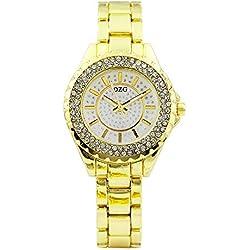 Montre en Acier Inoxydable pour Femmes Montre-Bracelet pour Femmes Montre en Métal Montre À Quartz Cadeau Précision TEM,Gold