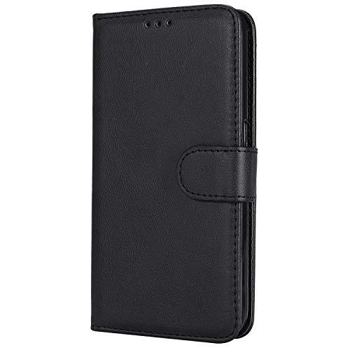 NEXCURIO Samsung Galaxy S6 / G920 Hülle Leder, Handyhülle Tasche Leder Flip Case Brieftasche Etui mit Kartenfach Stoßfest Kratzfest Schutzhülle für Samsung Galaxy S6 - NEKTU20207 Schwarz