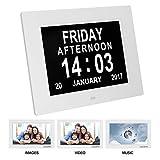 HEDDK Digitaler Wecker Digitaler Kalender Tag Uhr Elektronische Standuhr Wanduhr Seniorenuhr Seniorenwecker für Menschen mit 8 Alarm 8 Sprachen und großem LCD Bildschirm