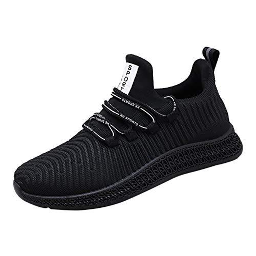 Sneakers Sportive Comodo E Indossabile Scarpe da Tennis per Uomo Trend Outdoor Comode Corsa Casual Intrecciate(Nero+41 EU)