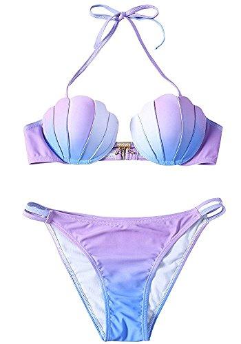 KiKa Monkey Frauen Meerjungfrau Bikini Set Shell Badeanzug lila 2