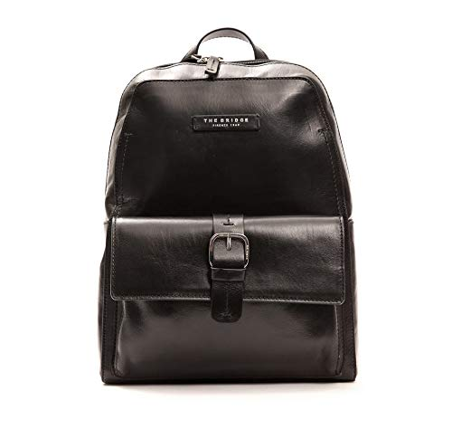 The Bridge Zaino Backpack Porta Pc fino a 14' pelle leather made in Italy man uomo spallacci regolabili chiusura zip 30X39X14 Cm 46300701-Nero